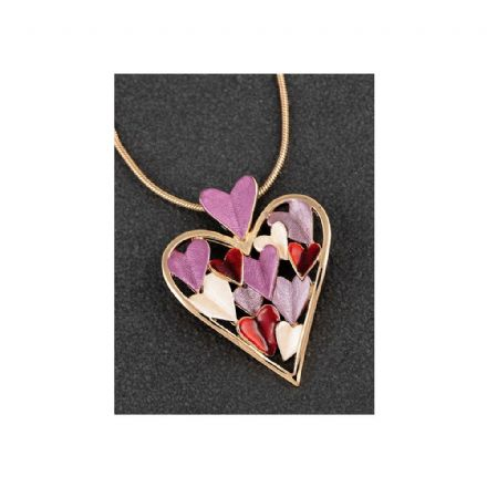 "Gold Plated Indulgent Tones Heart with 18"" Necklace"